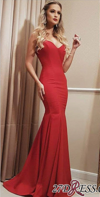 Floor Length Red Sweetheart Mermaid Long Prom Dress CC0020_3