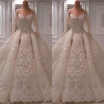 Gorgeous Long Sleeve Ball Gown Wedding Dresses | 2020 Wedding Dress With Appliques_2