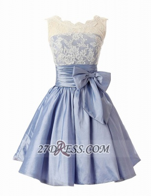 Lovely Illusion Cap Strap Cocktail Dress Lace Appliques Bowknot Short Homecoming Gown_1