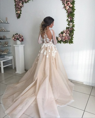 Beautiful Long Sleeve V-Neck Wedding Dresses | 2020 Mermaid Overskirt Bridal Gowns On Sale_3