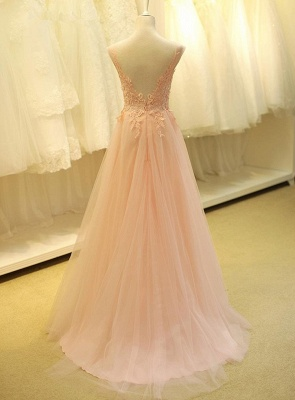 Lovely Color Cap Sleeve Tulle Prom Dress With Lace Appliques_3