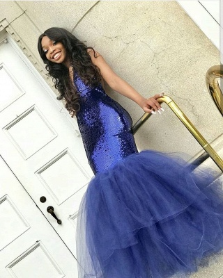 Sexy V-Neck Sleeveless 2020 Prom Dress | Mermaid Tulle Sequins Evening Gowns BC1191_1