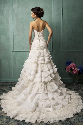 Timeless Sweetheart Sleeveless Lace Wedding Dress With Ruffles_2