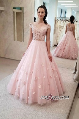 Floor-length Two-pieces Flower A-line Long Graceful Prom Dresses_1