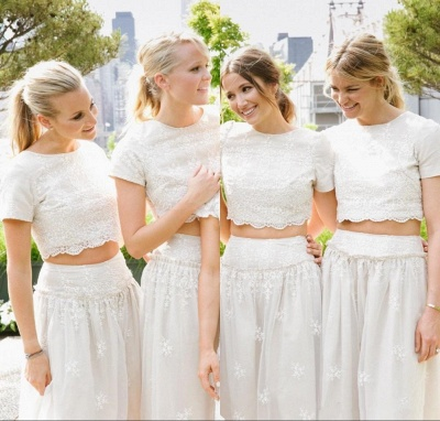 Modern White Two Piece A-line 2020 Bridesmaid Dress Lace Short Sleeve Jewel_6