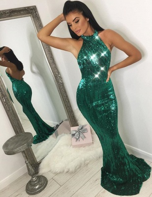 Sexy Halter Green Sequins Prom Dresses | 2020 Mermaid Long Formal Wears BC1744_2