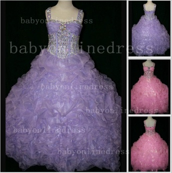 Girls Beauty Pageant Dresses for Girls 2020 Affordable Wholesale Beaded Crystal Gowns Flower_1