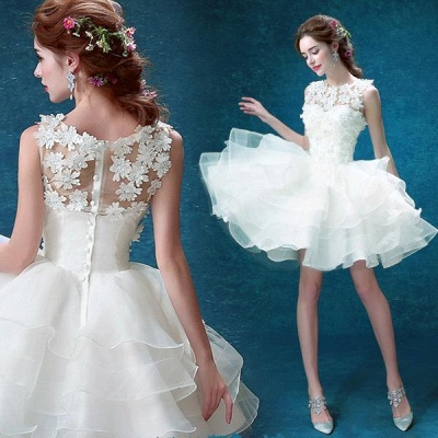 Pretty Sleeveless Appliques 2020 Homecoming Dress Short With Zipper Button Back_3