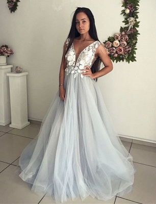 Elegant V-Neck Sleeveless Evening Dresses | 2020 Lace Appliques Tulle Prom Gowns_1