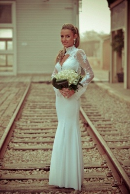 Sexy White Mermaid High Neck Wedding Dress Lace Appliques_5