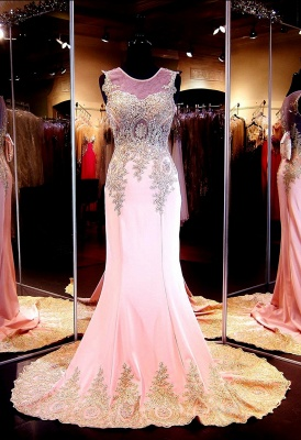 Glamorous Illusion Cap Sleeve Prom Dress With Beadings Appliques_4