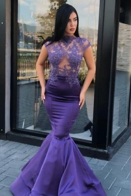 Gorgeous Cap Sleeve Purple Prom Dresses | 2020 Mermaid Lace Appliques Evening Gowns On Sale_5