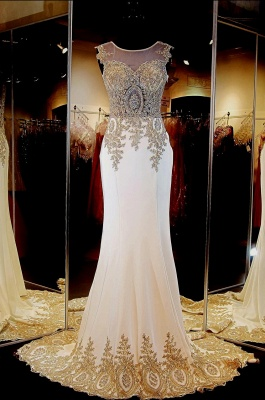 Glamorous Illusion Cap Sleeve Prom Dress With Beadings Appliques_3