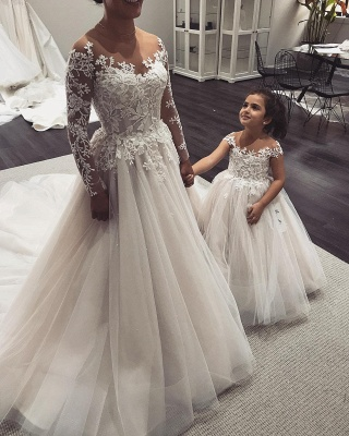 Long-Sleeve Wedding Dress   2020 Tulle Bridal Gowns With Appliques_3