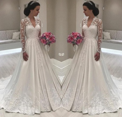 Princess Long Sleeve V-Neck Wedding Dress | 2020 Lace Bridal Gowns On Sale_3