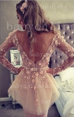 Lace Backless Long-Sleeve Sheath Dress 2020 V-Neck Waistband Gown With Bowknot_1