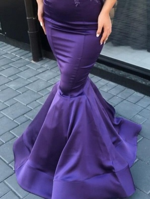 Gorgeous Cap Sleeve Purple Prom Dresses | 2020 Mermaid Lace Appliques Evening Gowns On Sale_2