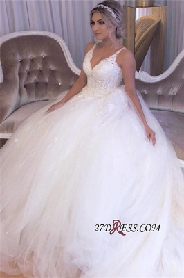 Beading Applique Gorgeous Strap A-Line V-neck Wedding Dress_4