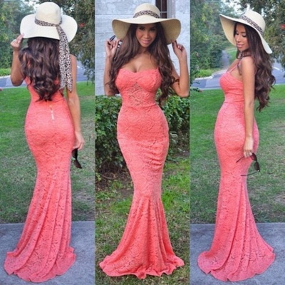 Lovely Lace Spaghetti Straps Sweetheart Prom Dress 2020 Mermaid_2