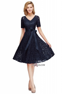 with Lace Dresses Sleeves V-neck Short Bow Sash_1