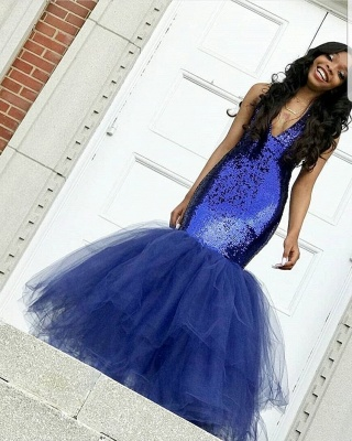 Sexy V-Neck Sleeveless 2020 Prom Dress | Mermaid Tulle Sequins Evening Gowns BC1191_3