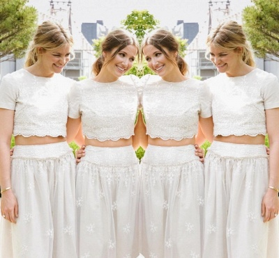 Modern White Two Piece A-line 2020 Bridesmaid Dress Lace Short Sleeve Jewel_3