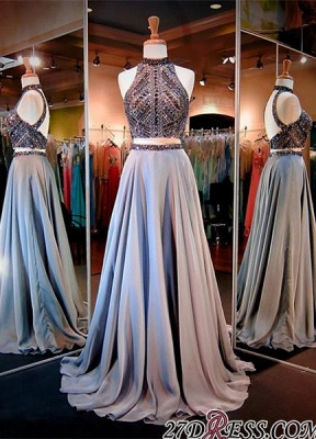 Gorgeous Crystals High-Neck A-line Two-Piece Evening Dress_3