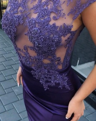 Gorgeous Cap Sleeve Purple Prom Dresses | 2020 Mermaid Lace Appliques Evening Gowns On Sale_4