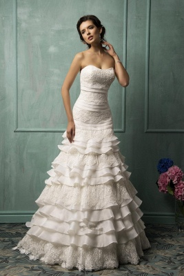 Timeless Sweetheart Sleeveless Lace Wedding Dress With Ruffles_1