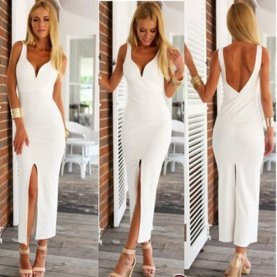 White Spaghetti-Strap Natural Open-Back Sexy Sheath Evening Dresses_1