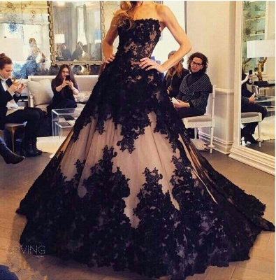 Chic Lace Appliques Ball Gown Evening Dress 2020 Strapless Sleeveless_3