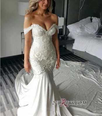 2020 Off-the-shoulder Delicate Mermaid Train Lace-Appliques Wedding Dress_3