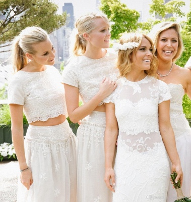 Modern White Two Piece A-line 2020 Bridesmaid Dress Lace Short Sleeve Jewel_7