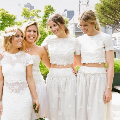 Modern White Two Piece A-line 2020 Bridesmaid Dress Lace Short Sleeve Jewel_8