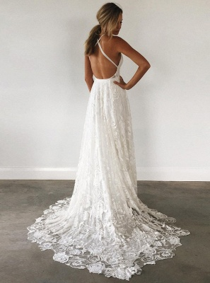 Sexy A-line Spaghetti Strap Wedding Dress | Side Split Bridal Dress_3