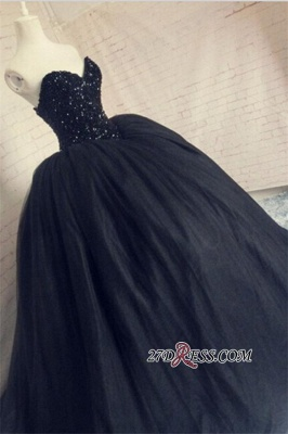 Puffy Beaded Sequins Corset Sparkly Black Amazing Tulle Sweetheart Prom Dress_1