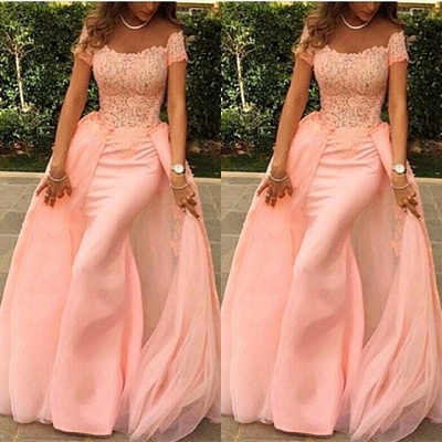 Gorgeous Short Sleeve Lace Prom Dresses | 2020 Overskirt Evening Gowns On Sale_2