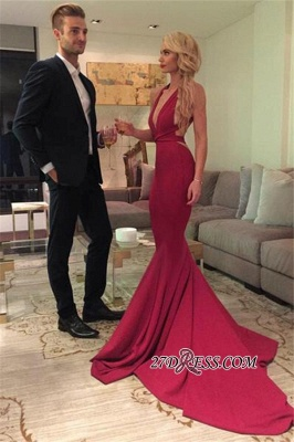Deep-V-Neck Sexy Mermaid Open-Back Red Sleeveless Prom Dress qq0289_2