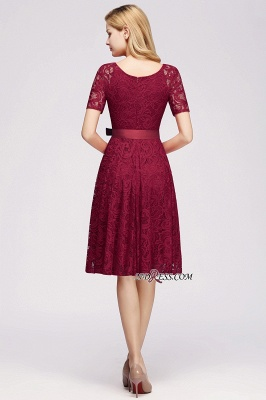 with Lace Dresses Sleeves V-neck Short Bow Sash_5