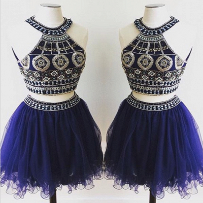 Sexy Two Piece Crystals Mini Homecoming Dress 2020 Halter Sleeveless_3