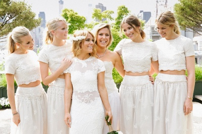 Modern White Two Piece A-line 2020 Bridesmaid Dress Lace Short Sleeve Jewel_4