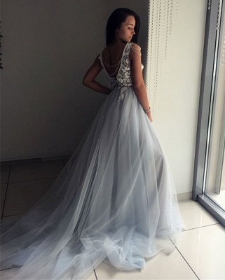 Elegant V-Neck Sleeveless Evening Dresses | 2020 Lace Appliques Tulle Prom Gowns_2