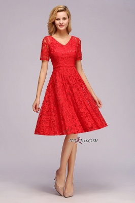 with Lace Dresses Sleeves V-neck Short Bow Sash_3