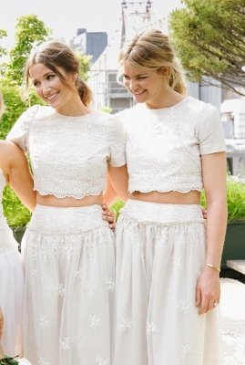 Modern White Two Piece A-line 2020 Bridesmaid Dress Lace Short Sleeve Jewel_5