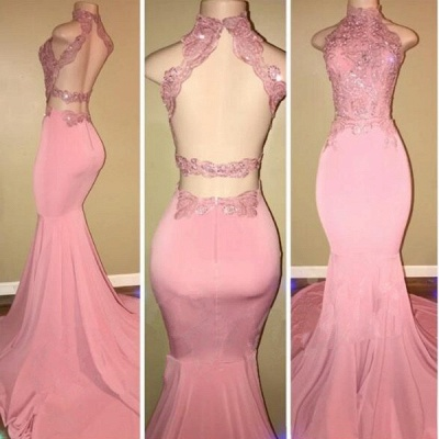 Gorgeous High Neck Pink Lace 2108 Prom Dress Mermaid Long On Sale BA7748_3