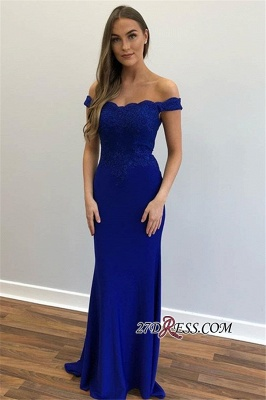 Off-the-Shoulder Mermaid Appliques Elegant Prom Dresses_2