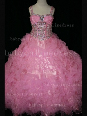 Girls Beauty Pageant Dresses for Girls 2020 Affordable Wholesale Beaded Crystal Gowns Flower_4