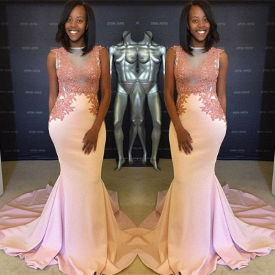 Pink evening party dress, lace mermaid prom dress_3