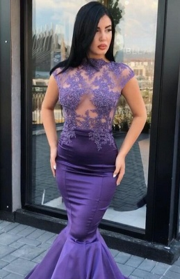 Gorgeous Cap Sleeve Purple Prom Dresses | 2020 Mermaid Lace Appliques Evening Gowns On Sale_1