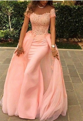 Gorgeous Short Sleeve Lace Prom Dresses | 2020 Overskirt Evening Gowns On Sale_1